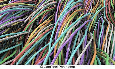 Elektrisch, kabel, mehrfarbig. Stahl, kabel, elektrisch,... Stock ...