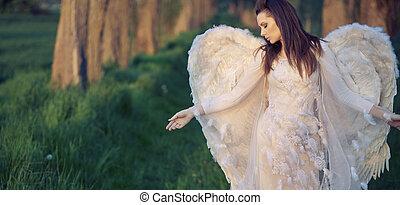 verdrietige , boezem, engel, natuur