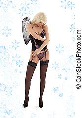 verdrietige , engel, in, black , lingerie, met, snowflakes, #2