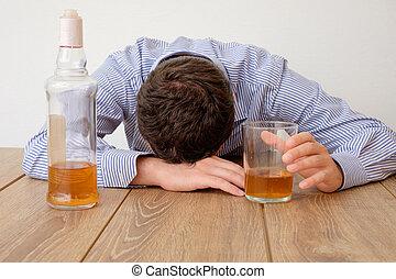 verdrietige , man, alcohol, verslaafd, gevoel, slecht