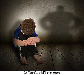verdrietige , misbruikte, jongen, met, woede, schaduw