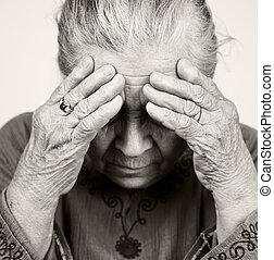 verdrietige , oud, oude vrouw, met, gezondheid problematiek