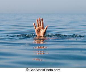verdrinking, helpen, hand, enkel, vragen, zee, man