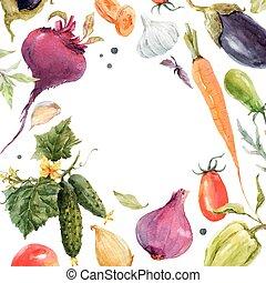 verdura, acquarello, vettore, cornice