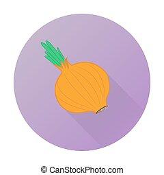 verdura, appartamento, vettore, cipolla, icona