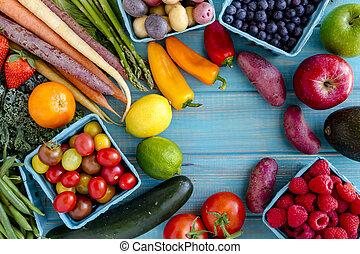 verdura, assortito, fondo, frutte