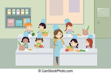 verdura, bambini, stickman, cottura, classe