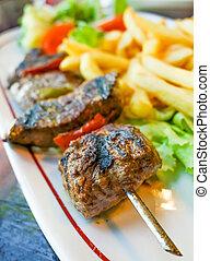 verdura, bistecca, manzo, kabobs
