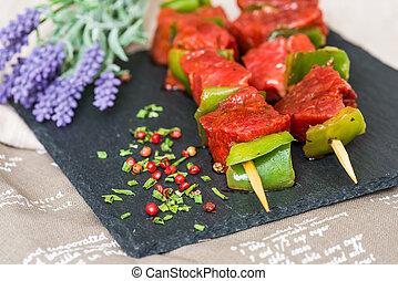 verdura, bistecca, saporito, kabobs, manzo