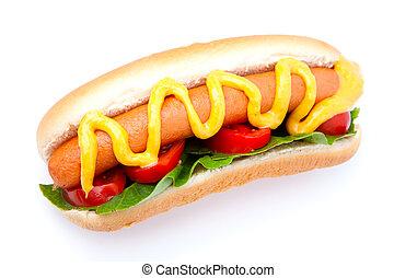 verdura, cane bianco, fondo, caldo