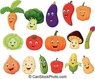 verdura, carino, carattere, cartone animato