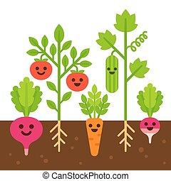 verdura, carino, giardino, illustrazione