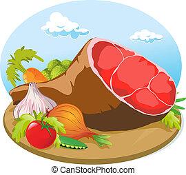 verdura, carne di maiale, prosciutto