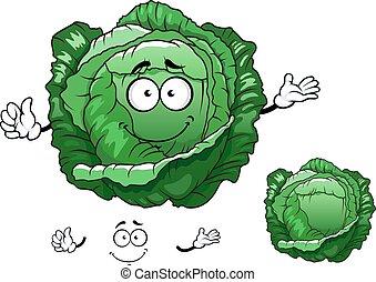 verdura, cavolo, crunchy, carattere, cartone animato