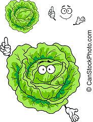 verdura, cavolo, verde, cartone animato