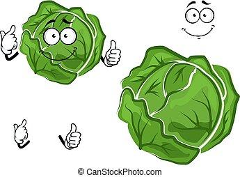 verdura, cavolo, verde, isolato, cartone animato
