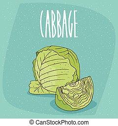 verdura, cavolo, verde, isolato, maturo