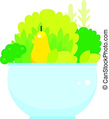 verdura, ciotola, isolato, sfondo verde, frutte, fresco, bianco