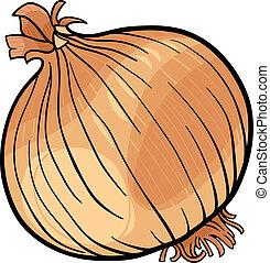 verdura, cipolla, cartone animato, illustrazione