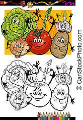 verdura, coloritura, gruppo, libro, cartone animato