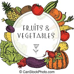 verdura, cornice, frutte, cibo, sano