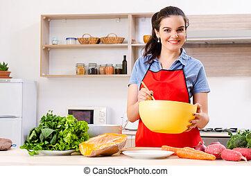 verdura, donna, giovane, cucina