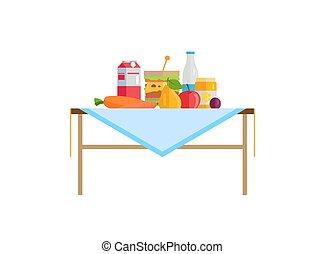 verdura, e, frutta, panino, con, latte, su, tavola