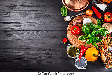 verdura, e, spezie, ingrediente, per, cottura, cibo italiano