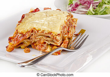 verdura, forchetta, lasagna