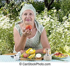 verdura, fresco, anziano, femmina
