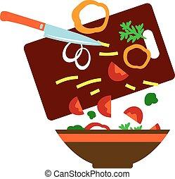 verdura, fresco, preparare, insalata