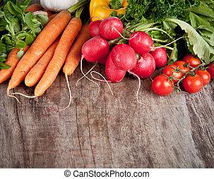 verdura, fresco, tavola legno