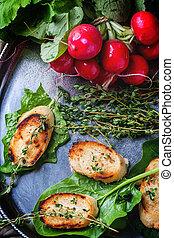 verdura, fritto, crostini, bread