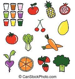 verdura, frutta, disegno