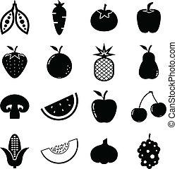 verdura, frutte, icona