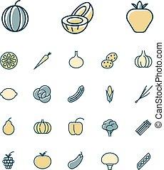 verdura, frutte, linea, magro, icone