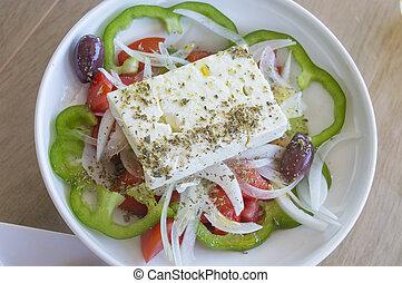 verdura, greco, primo piano, insalata