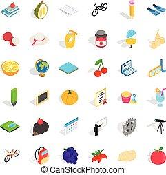 verdura, icone, set, isometrico, stile