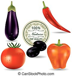 verdura, icone, set.