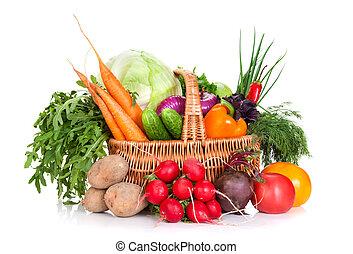 verdura, in, uno, cesto