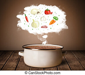 verdura, in, vapore, nuvola