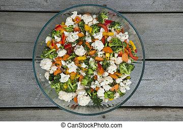 verdura, insalata, in, ciotola