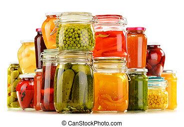 verdura, isolato, fruity, marmellate, vasi, messo sottoaceto...