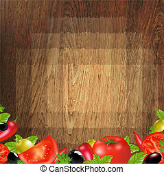 verdura, legno, fondo