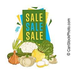 verdura, manifesto, fresco, vendita, scontare