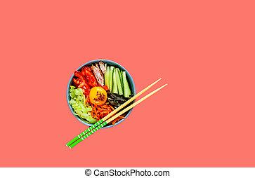 verdura, manzo, tradizionale, fondo., cuisine., piatto, pietanza, coreano, uovo, corallo, bibimbap
