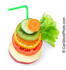 verdura mezclada, fruta, cortar