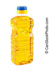 verdura, olio, bottiglia, plastica