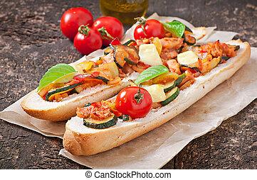 verdura, panino, arrostito