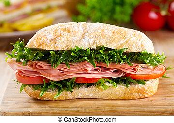 verdura, panino, pancetta affumicata